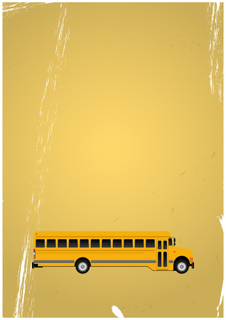 schoolbus: illustration of yellow school bus with vintage background