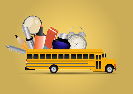 yellow schoolbus: illustration of yellow school bus with object for school
