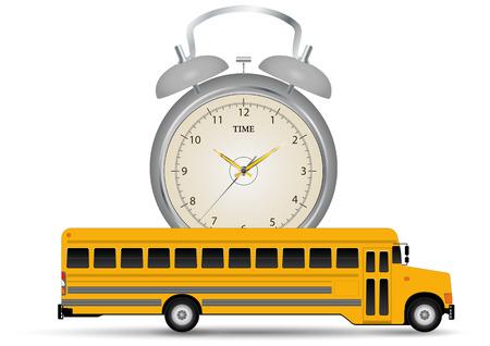pullman: illustration of yellow school bus with alarm clock Illustration