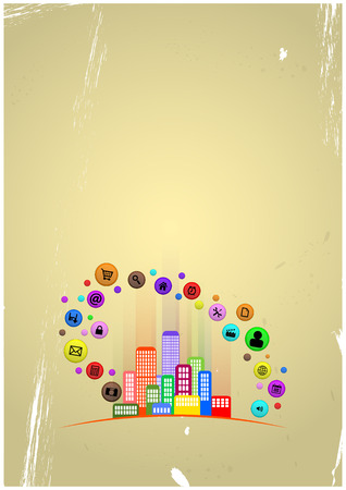 illustration of colorful urban city with multimedia icon Illustration