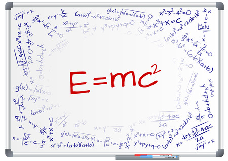 illustration of e=mc2 formula on whiteboard Illustration
