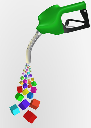 petrol pump: illustration of petrol pump with abstract colorful cubes