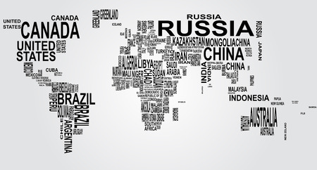 name: illustration of world map with country name