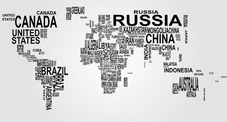 continente: ilustración del mapa del mundo con el nombre del país Vectores