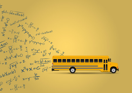 yellow schoolbus: illustration of yellow school bus with algebraic equations