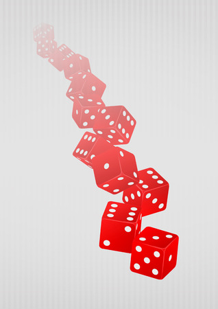 red dice: illustration of launch of many red dice