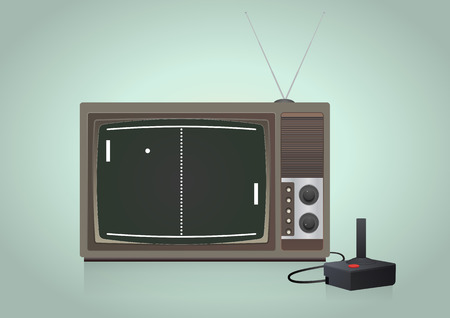 illustration of old videogame in vintage television