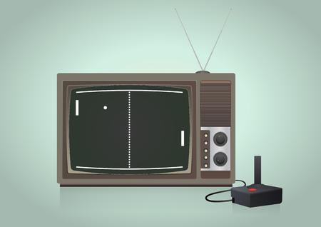 illustration of old videogame in vintage television Stok Fotoğraf - 40055434
