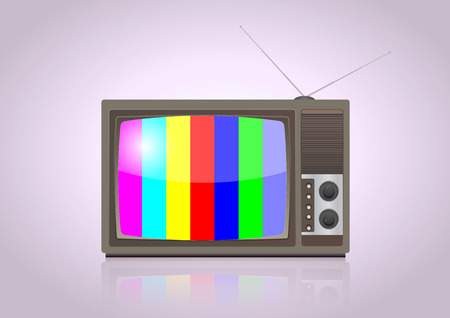 vintage television: illustration of vintage television with colorful screen