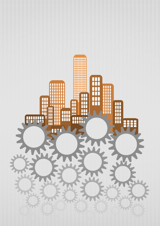 gearing: illustration of colorful urban city with gearing