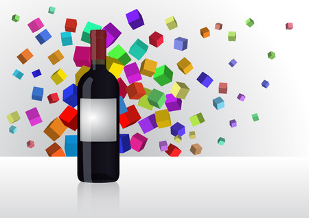 uncork: illustration of wine bottle with abstract color cubes Illustration