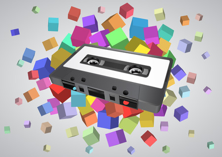 audio cassette: audio cassette with colorful abstract cubes Illustration