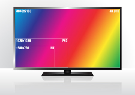 resolution: illustration of television with resolution size, colorful screen