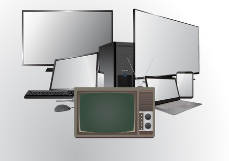old television: illustration of old television and new technology Illustration