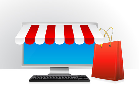 retail display: illustration of blank monitor for online shopping