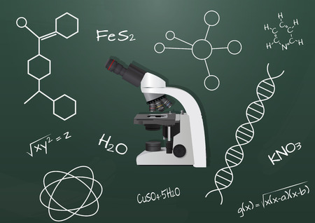 enlargement: illustration of microscope with chalkboard
