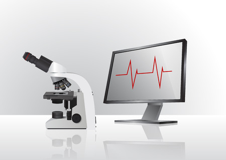 enlargement: illustration of medical microscope with monitor for laboratory Illustration