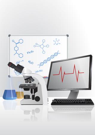 medical laboratory: illustration of medical microscope with monitor for laboratory Illustration