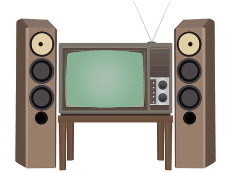 vintage television: illustration of vintage television with loudspeaker