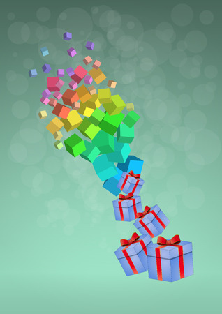 gift packs: illustration of gift packs with abstract colorful cubes Illustration