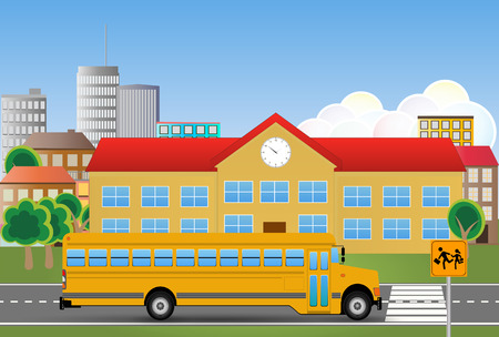 educational institution: illustration of yellow school bus with educational institution Illustration