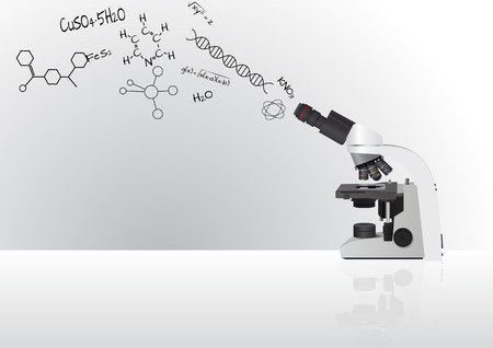 experimental: illustration of microscope with chemistry formula