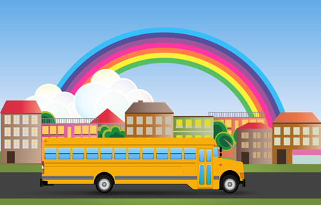 yellow schoolbus: illustration of yellow school bus with urban background
