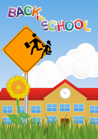 schoolhouse: illustration of Warning school sign with schoolhouse