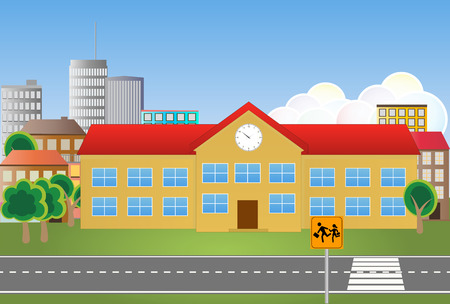 scholastic: illustration of school building with street and signalroad