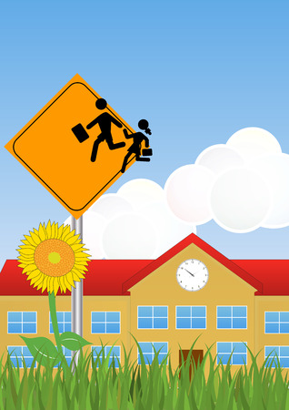 scholastic: illustration of Warning school sign with schoolhouse