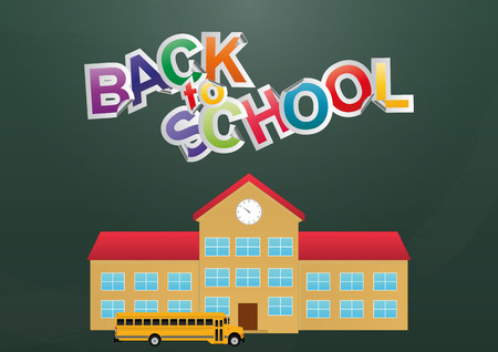 scholastic: illustration of back to school text with schoolhouse