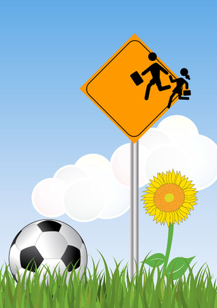 soccerball: illustration of Warning school sign with soccerball Illustration