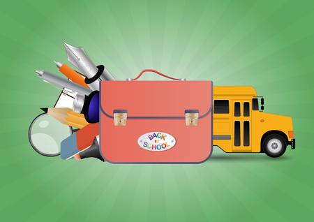 schoolbus: illustration of school bag with object school and schoolbus