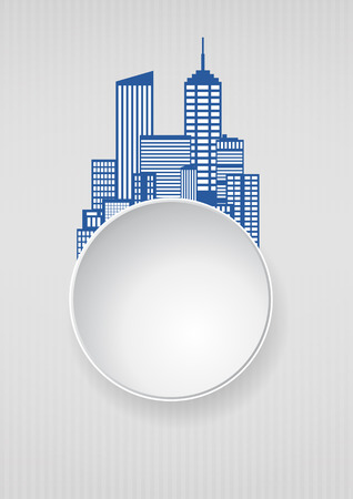 residential neighborhood: illustration of city skyline with round blank area Illustration