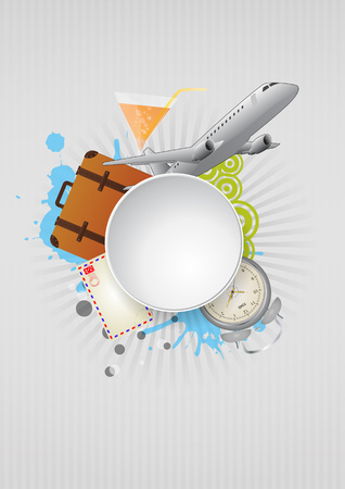 illustration of airplane with blank round area