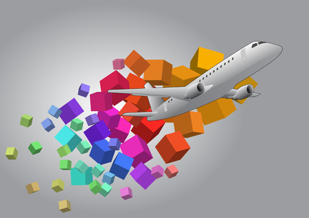 airbus: illustration of airplane with colorful cubes background