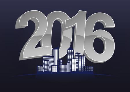 community event: illustration of 2016 text with skyline city Illustration