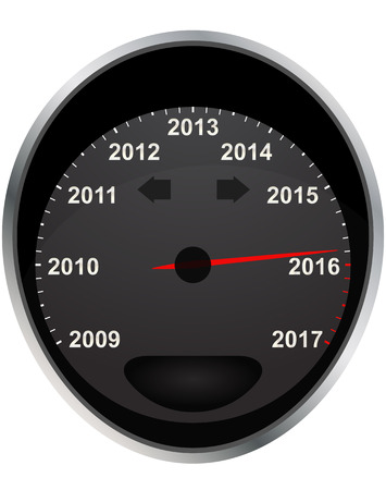 odometer: illustration of years odometer, 2016 year Illustration