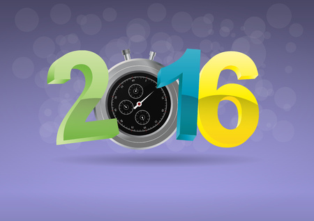 chronometer: illustration of colorful 2016 text with chronometer