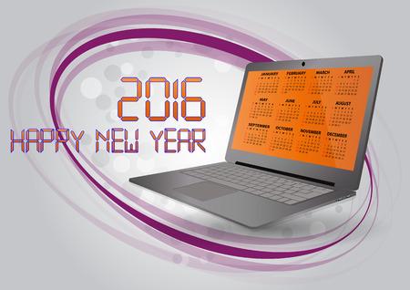laptop screen: illustration of 2016 calendar on screen of laptop in italian