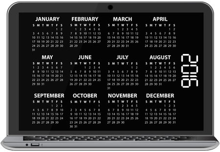 laptop screen: illustration of 2016 calendar on screen of laptop