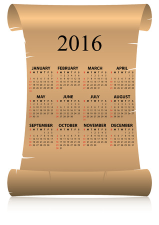 16 year old: illustration of 2016 calendar on parchment in italian language