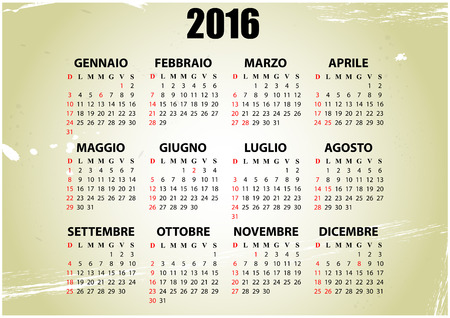 16 year old: illustration of 2016 calendar with vintage background, italian language