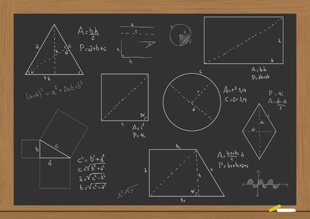 illustration of chalkboard with forms and geometric formulas
