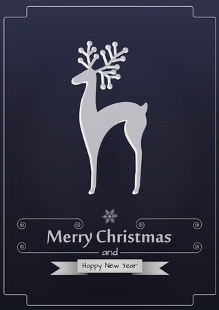 illustration of reindeer silhouette with merry christmas text Illustration