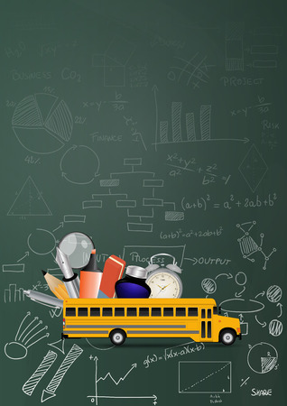 algebraic: illustration of yellow school bus with chart and diagrams