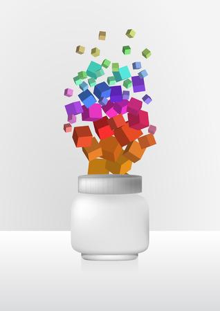 medical shower: illustration of white cream jar with light background