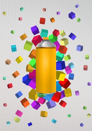 スプレーのイラストが、カラーの抽象的なキューブ 写真素材 - 49828982