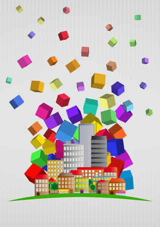 illustration of city skyline with colors abstract Illustration