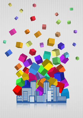 financial district: illustration of city skyline with colors abstract Illustration